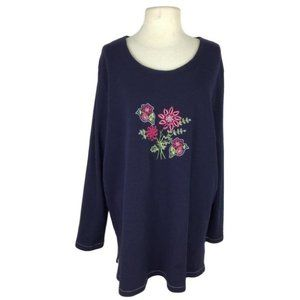 Liz & Me 1X 18 20 Embroidered Floral Tunic Top